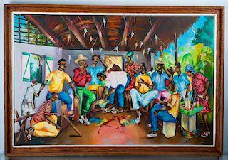 Monique Lavoss Haitian Scene Oil on Canvas