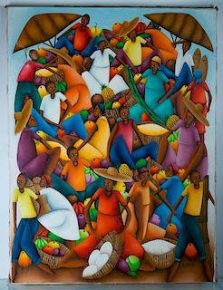 Haitian Market Scene Oil on Canvas, Signed
