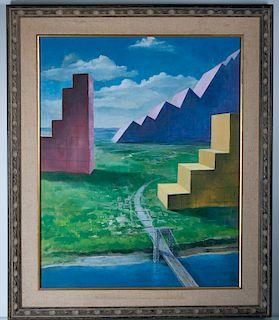 George Washington Bridge Oil, Surrealist, Signed