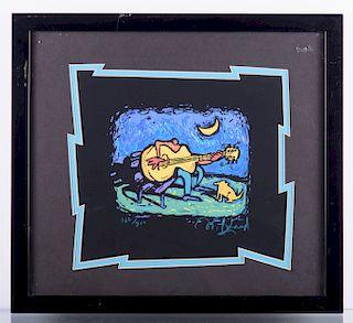Guitar Player & Dog #162/900 Serigraph