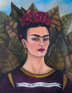 Frida Kahlo Attrib. Mixed Media Self Portrait