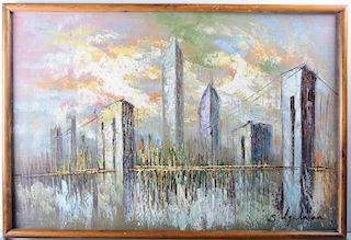 New York Skyline Signed Oil on Canvas