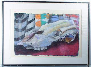 "Dan Woodson ""Skull Scape"" Pastel Drawing on Paper"