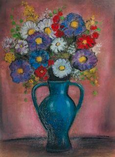 Odilon Redon Pastel on Paper Vase of Flowers
