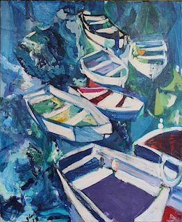 COOPER, Joanne. Oil on Canvas. Rowboats. 1973.