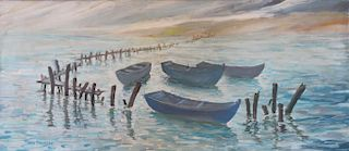AVELLANEDA, Fravelo. Oil on Canvas. Boats in a
