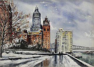 VON DAEHN, Alex. Watercolor. View of Queensboro