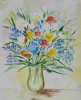 UNSIGNED. Oil on Canvas. Floral Still Life