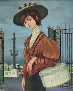 """CHOCHON, Andre. Oil on Canvas. """"La Modiste""""."""