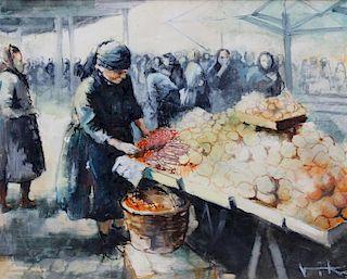 VIKO, Victor. Oil on Canvas. Market Scene.