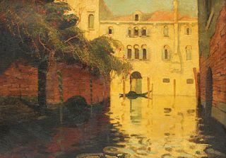 APPARENTLY Unsigned. Oil on Canvas. Venice Scene.