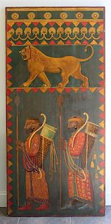 UNSIGNED. Oil on Wood Panel. Assyrian Motif