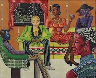"ACEA, Jeffrey. ""Sweet's Place"" 1973 Oil & Collage"