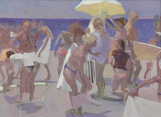 BAXTER, Robert. Oil on Canvas. A Day at the Beach.