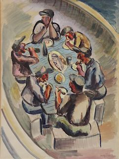 LEHMAN, Irving. Watercolor. At the Table, 1934.
