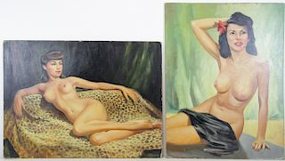 VION DOREK. Two Oil on Board. Pin-Up Nudes.