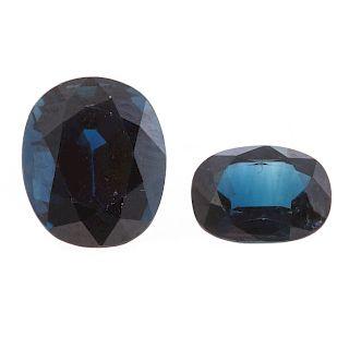 Two Loose Cushion Cut Blue Sapphires