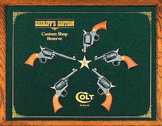 Colt Custom Shop Reserve Cased Set Of Five Sheriff's Edition Single Action Revolvers