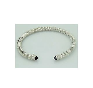 David Yurman 925 Sterling Silver Cable 5mm Classics Bracelet with Ruby and 0.07tcw Diamonds