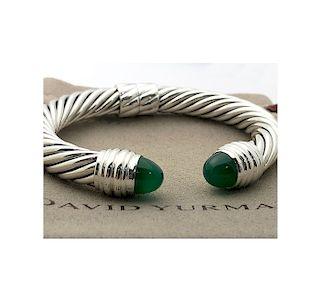 David Yurman Sterling Silver 10mm Cabochon Green Onyx Cable Bracelet