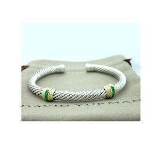 David Yurman 5mm Cable Classic Double-Station Emerald Cable Bracelet