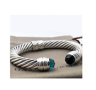 David Yurman Sterling Silver 10mm Hampton Blue Topaz Cable Bracelet