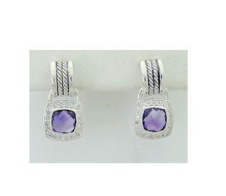 DAVID YURMAN Sterling Silver Amethyst and Diamond Drop Earrings