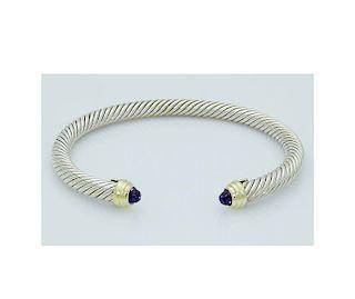 David Yurman 925 Sterling Silver&14K Gold Cable 5mm Bracelet with Amethyst