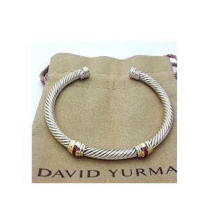 David Yurman Sterling Silver &14K Gold Double Stations Ruby 5mm Bracelet