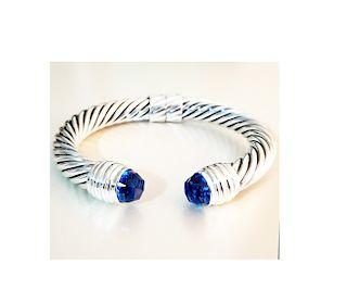 David Yurman Sterling Silver 10mm Blue Topaz Cable Bracelet