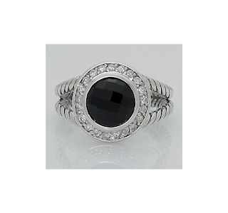 DAVID YURMAN Sterling Silver Round Albion Ring with Onyx and Diamonds