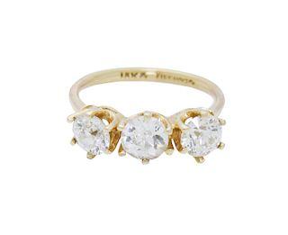 Estate 18k Yellow Gold approx 1.5TCW Diamond Band Ring Size 6.75