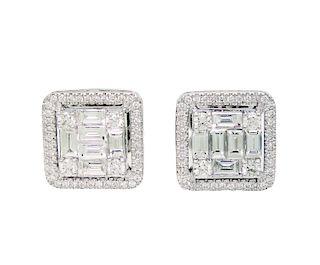18k White Gold 4.50TCW Diamond Stud Earrings