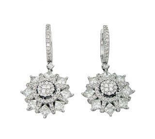 14k White Gold 4.26TCW Diamond Earrings