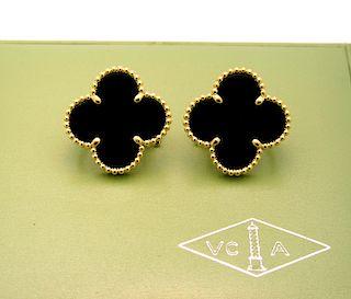 Van Cleef & Arpels Yellow Gold Magic Alhambra Black Onyx Earrings