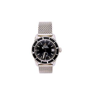 Breitling Stainless Steel 38mm Black Dial Heritage On Ocean Classic Mesh Watch