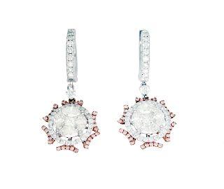 14k White and Rose Gold Earrings 2.95TCW Diamond Earrings