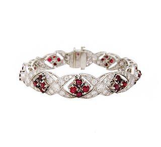 Vintage Platinum .8 TCW Diamond & Ruby Bracelet