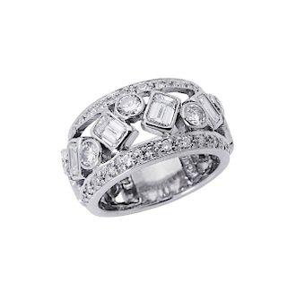 14k White Gold 2.00 TCW Diamond Wide Band Ring Size