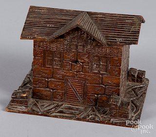 Carved pine stone cottage lidded box