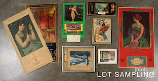 Group of advertising calendars and thermometers