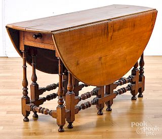 William and Mary style tiger maple dining table