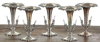 Set of five sterling silver vases