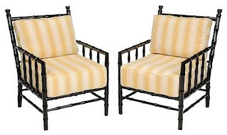 A Pair Ebonized Faux-Bamboo Armchairs