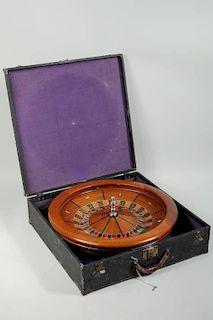 Vintage Cased Gambler's Traveling Roulette Wheel