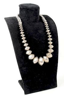 Vintage Navajo Large Handmade Silver Bead Necklace