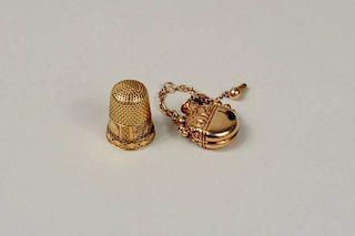 14K Gold Perfume Pendant & Thimble
