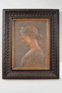 Continental Sculptural Copper Plaque/St. Theresa