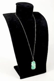 Carved Jade Pendant On Sterling Silver Necklace