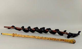 Two Folk Art Walking Sticks